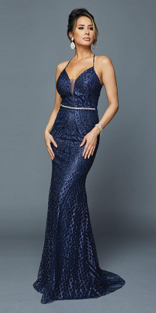 Navy Blue Long Sequin Prom Dress with Strappy Back
