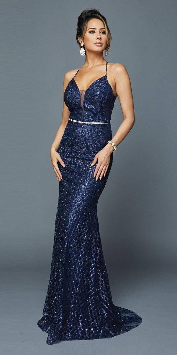 e59fc58cb6 Navy Blue Long Sequin Prom Dress with Strappy Back