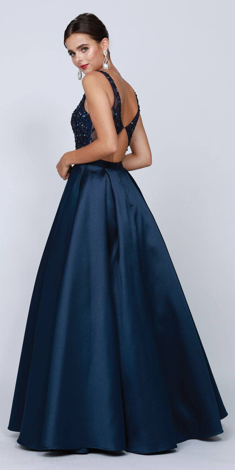 e43d28f759ceb Juliet 682 Navy Blue Beaded Top Long Prom Dress with Cut-Out Back ...