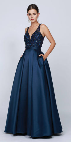 Navy Blue Beaded Top Long Prom Dress with Cut-Out Back