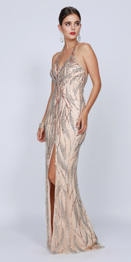 Champagne Halter Long Prom Dress Lace-Up Back with Slit