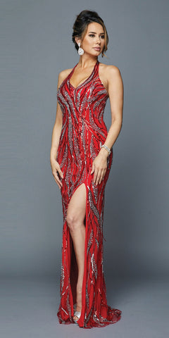 Strapless Long Prom Dress Cut Out Back with Ruffled Bustle Red