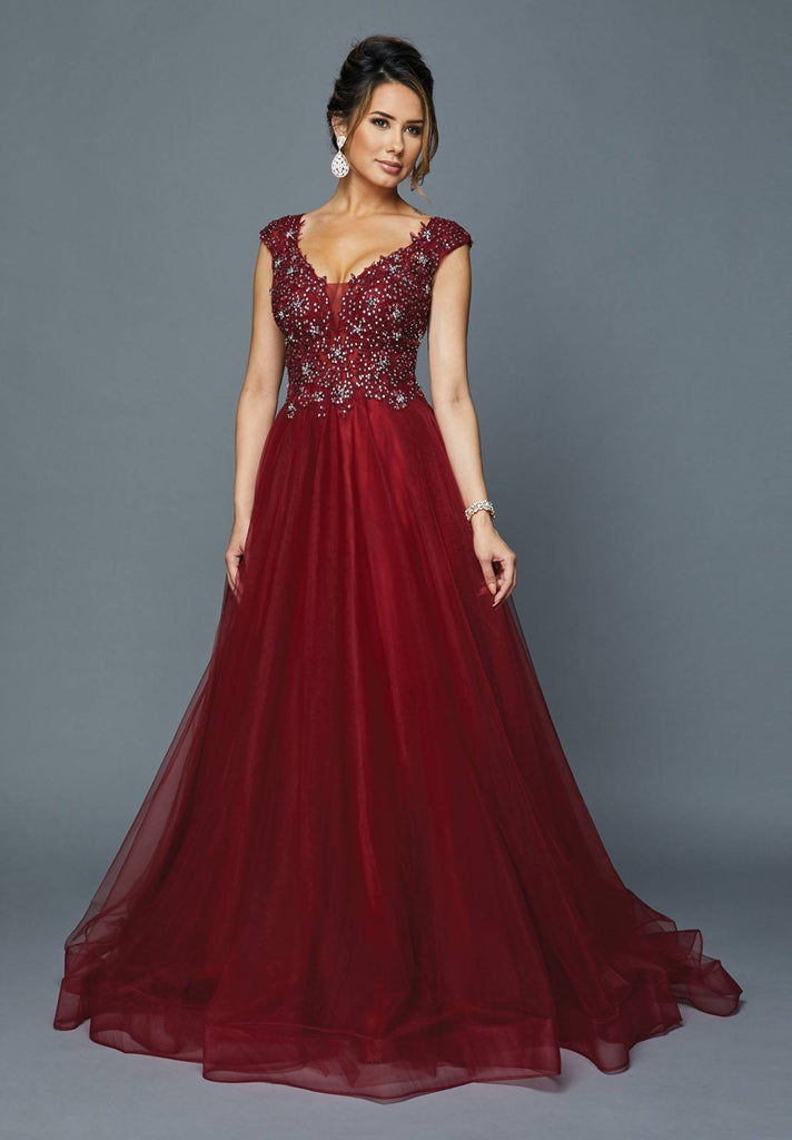 Burgundy Cap Sleeved Long Formal Dress with Appliques