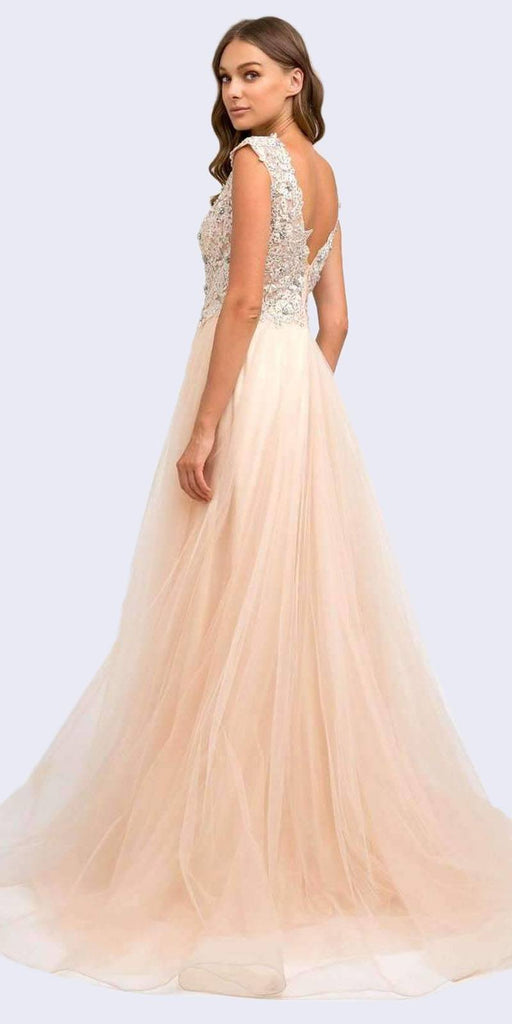 Juliet 684 Floor Length Champagne Cap Sleeved Ball Gown with Appliques