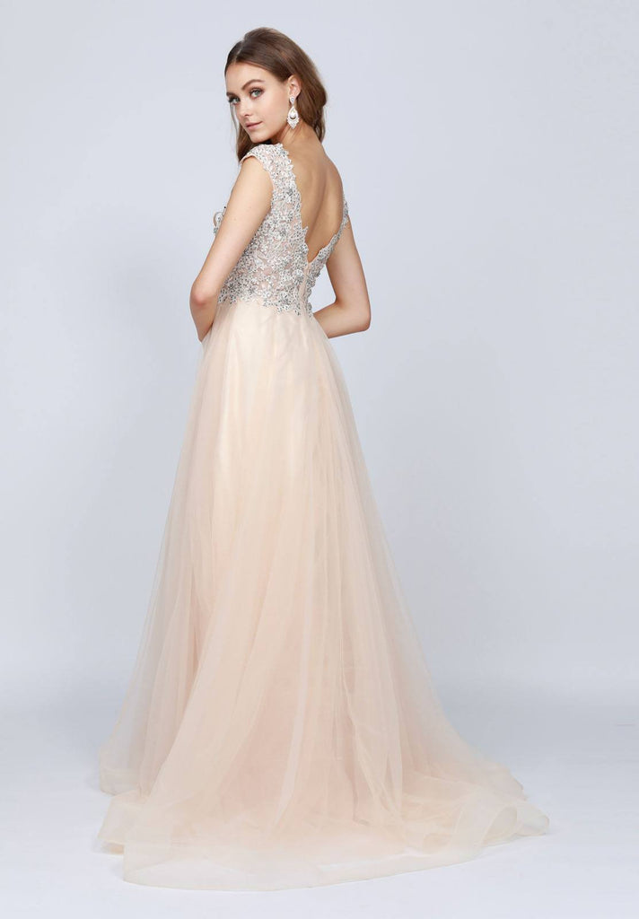 Champagne Cap Sleeved Long Formal Dress with Appliques