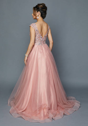 Rose Cap Sleeved Long Formal Dress with Appliques