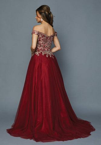 Off-Shoulder Long Prom Dress with Appliqued Bodice Burgundy