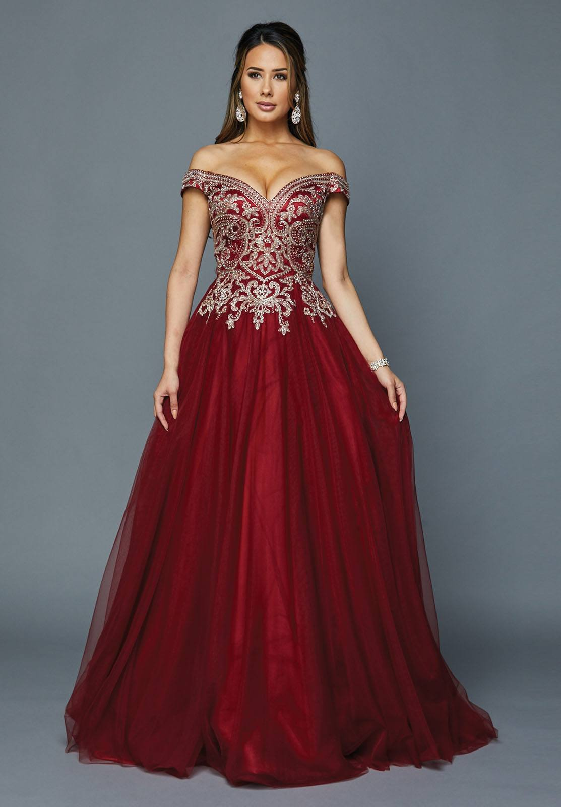 3a8b8906f20 Juliet 685 Off-Shoulder Long Prom Dress with Appliqued Bodice ...