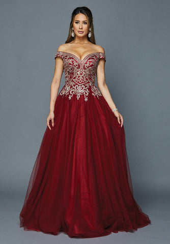 Burgundy Off-Shoulder Ruffled Quinceanera Dress