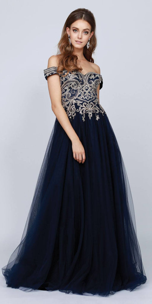 Off-Shoulder Long Prom Dress with Appliqued Bodice Navy Blue