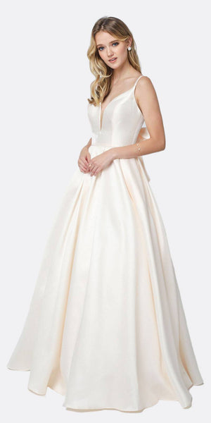 Juliet 686 Ball Gown Style Prom Dress Champagne Floor Length Removable Bow