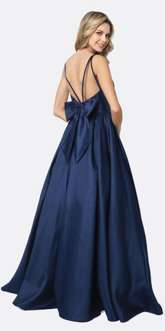 Juliet 686 Ball Gown Style Prom Dress Navy Blue Floor Length Removable Bow