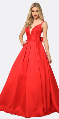 Juliet 686 Ball Gown Style Prom Dress Red Floor Length Removable Bow