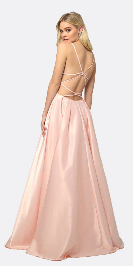 Juliet 687 Long Shiny Satin A-line Prom Gown Blush With Pockets