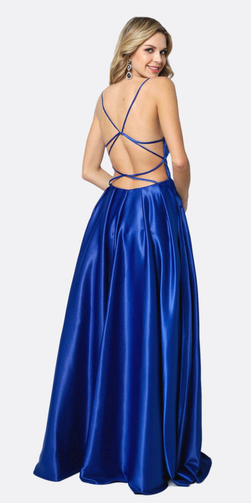 Juliet 687 Long Shiny Satin A-line Prom Gown Royal Blue With Pockets