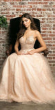 Juliet 689 Floor Length Embroidered Bodice Sequin Champagne Tulle Ball Gown Train