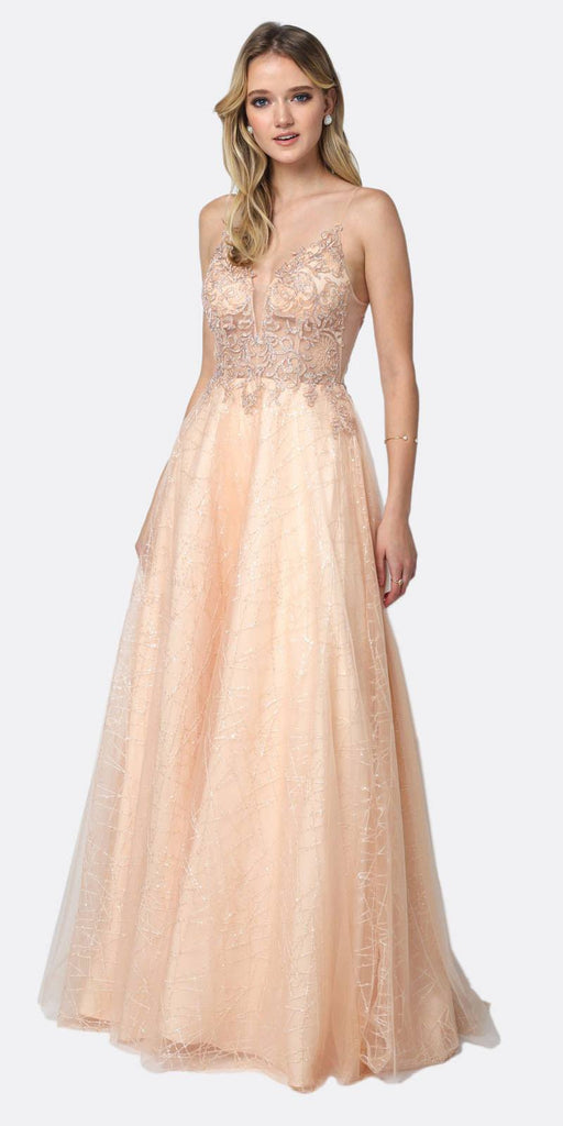 Juliet 689 Sheer Embroidered Bodice Sequin Train Tulle Ball Gown Champagne