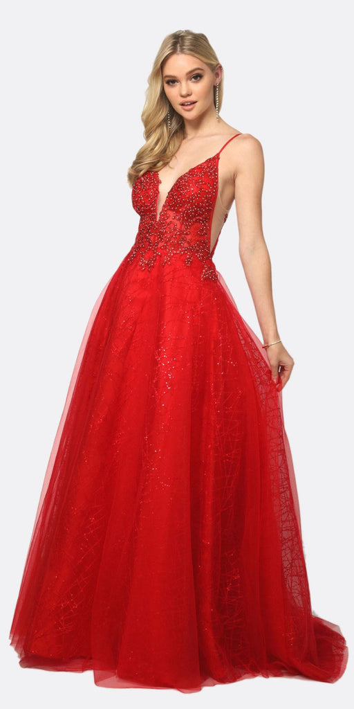 Juliet 689 Sheer Embroidered Bodice Sequin Train Tulle Ball Gown Red