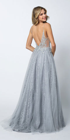 Juliet 689 Sheer Embroidered Bodice Sequin Train Tulle Ball Gown Silver