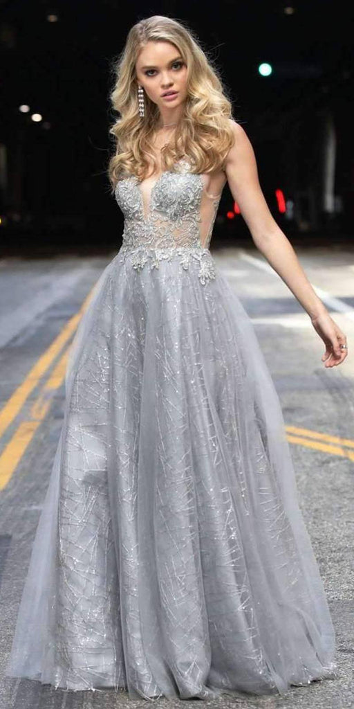 Juliet 689 Floor Length Embroidered Bodice Sequin Silver Tulle Ball Gown Train
