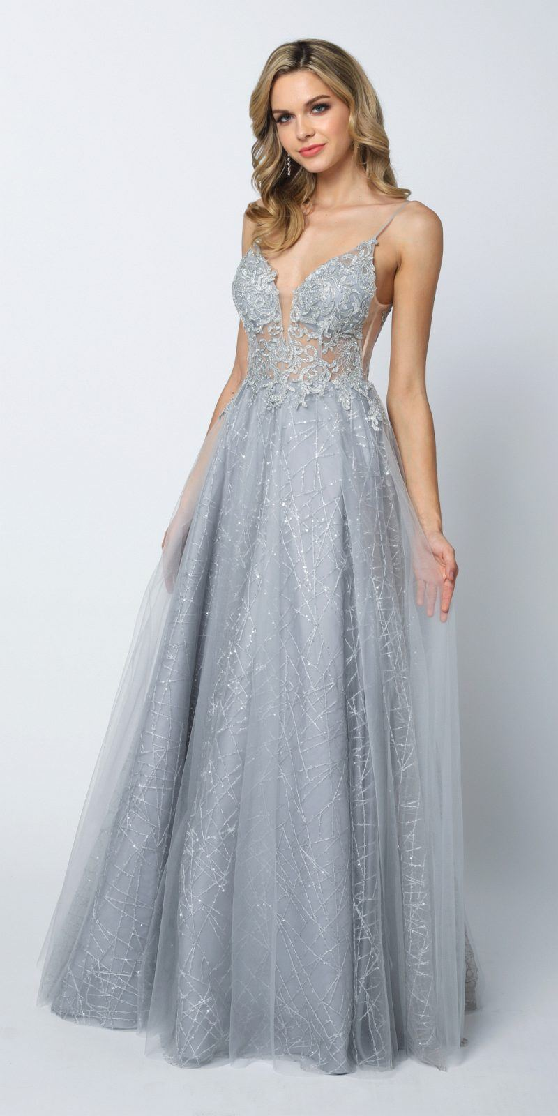 99b3cd8aa500c Juliet 689 Sheer Embroidered Bodice Sequin Train Tulle Ball Gown Silver ...