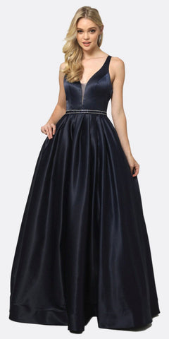 Black A-line Long Prom Dress with Beaded Embroidered Bodice