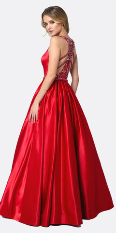Juliet 690 A-Line Glitter Satin Deep V Neck Prom Gown Red Floor Length