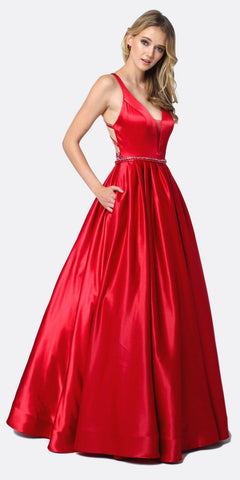 Long Satin Ball Gown Black/Hot Pink Beaded Criss Cross Keyhole Neckline