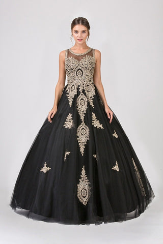 94b2ff31321 Eureka Fashion 6900 Black Cut-Out Back Quinceanera Dress with Gold Appliques