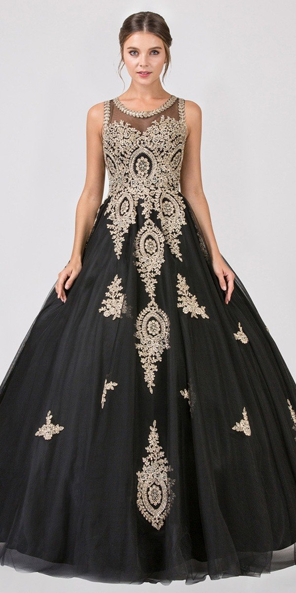 26d1bf1b2b Eureka Fashion 6900 Black Cut-Out Back Quinceanera Dress with Gold  Appliques ...
