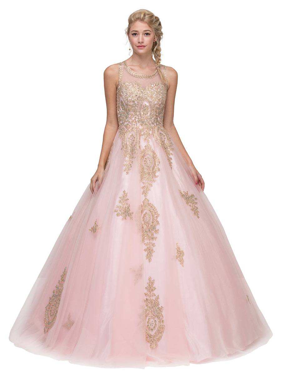 138594d35cc Eureka Fashion 6900 Blush Cut-Out Back Quinceanera Dress with Gold ...