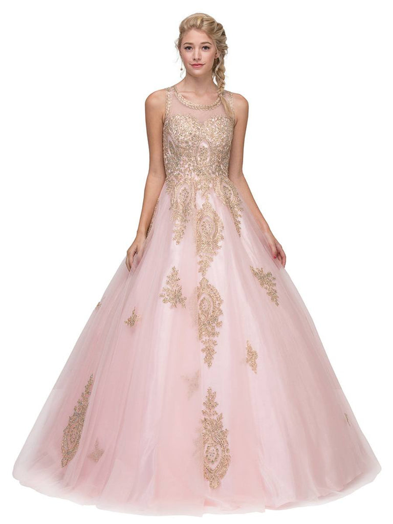 Blush Cut-Out Back Quinceanera Dress with Gold Appliques