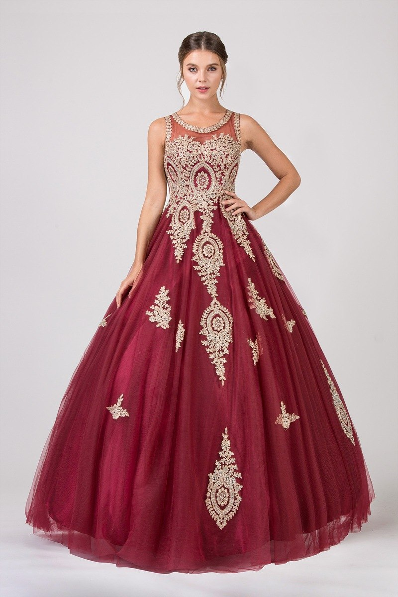 23167bd8c8 ... Eureka Fashion 6900 Burgundy Cut-Out Back Quinceanera Dress with Gold  Appliques ...