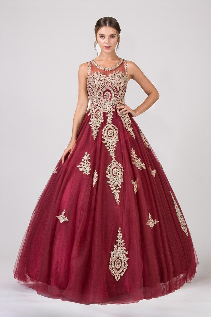 Eureka Fashion 6900 Burgundy Cut-Out Back Quinceanera Dress with Gold Appliques