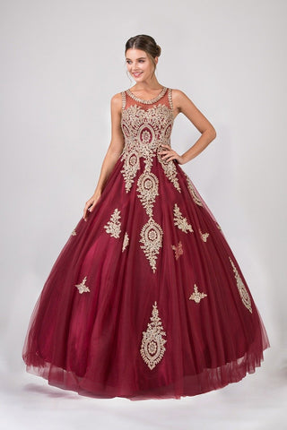 6bf1133ac80 Eureka Fashion 6900 Burgundy Cut-Out Back Quinceanera Dress with Gold  Appliques