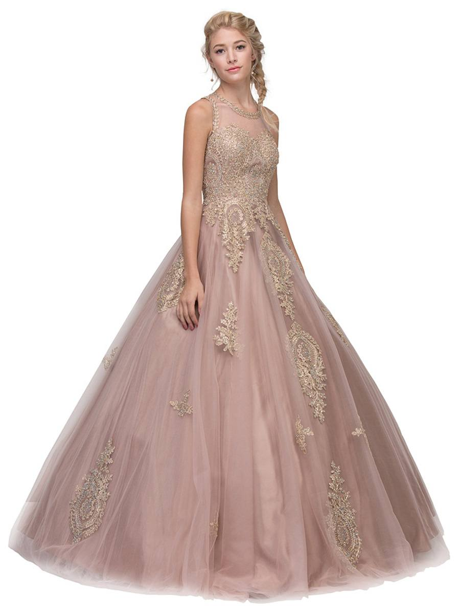 fb164c288a3 Mocha Cut-Out Back Quinceanera Dress with Gold Appliques. Touch to zoom