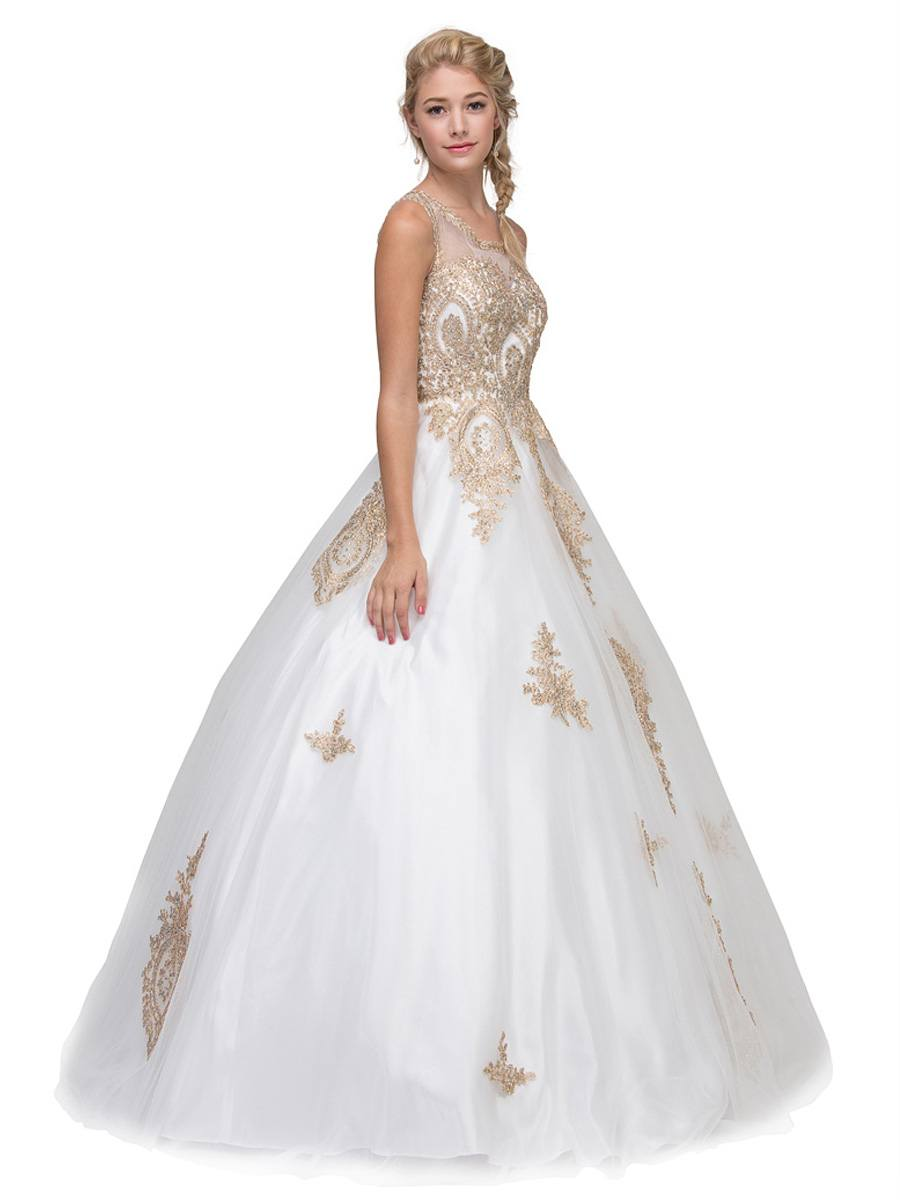 a2269a6801 ... Ivory Cut-Out Back Quinceanera Dress with Gold Appliques Eureka Fashion  6900 ...