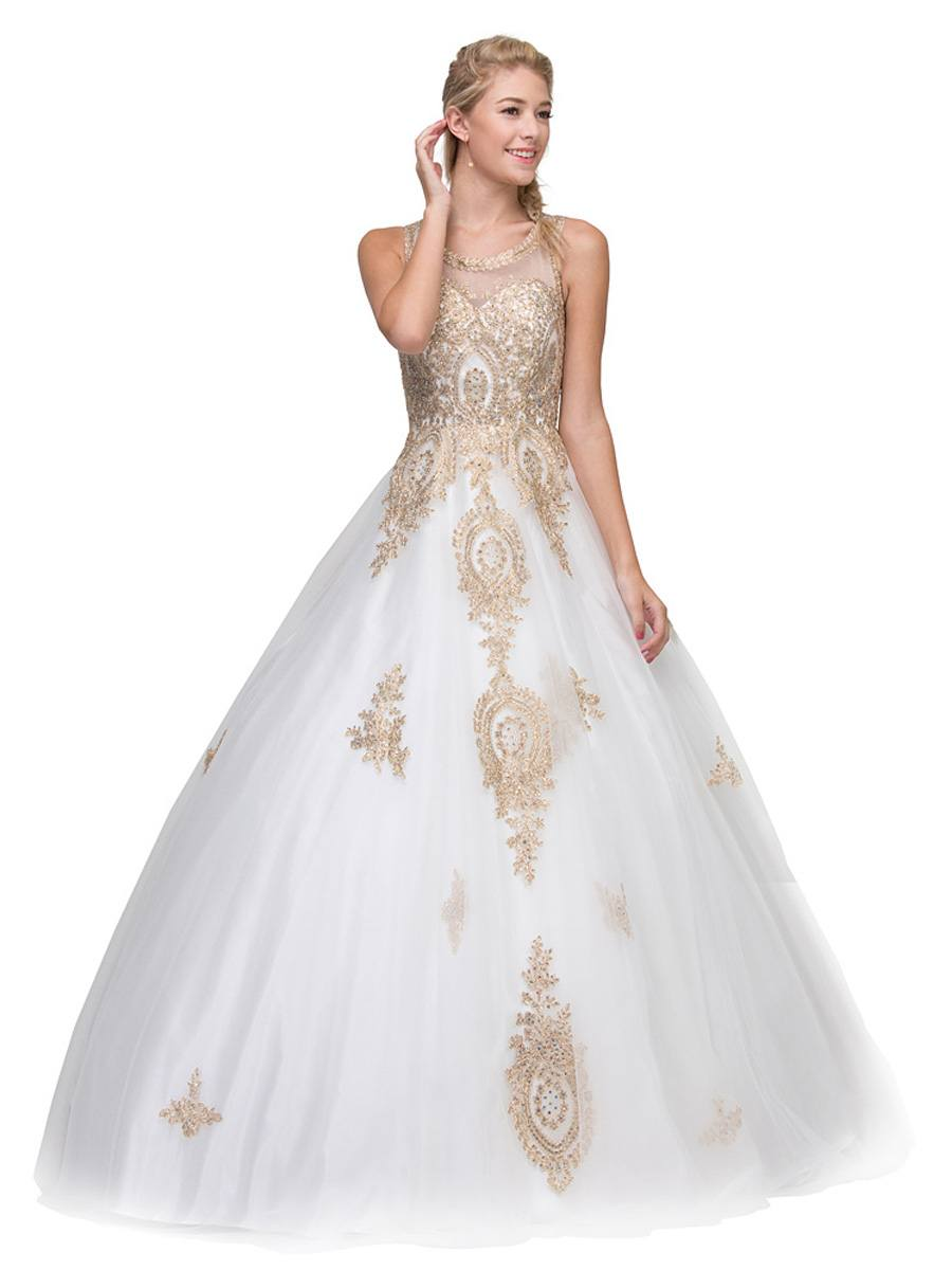 Ivory Cutout Back Quinceanera Dress With Gold Appliques: Gold Applique Wedding Dress At Reisefeber.org