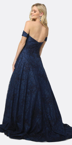 Juliet 692 Long Embroidered Lace Ball Gown Dress Navy With Arm Band