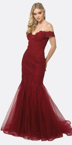 Juliet 693 Embellished Lace Off the Shoulder Burgundy Mermaid Prom Dress