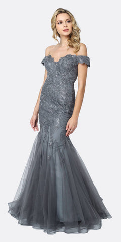 Juliet 693 Embellished Lace Off the Shoulder Charcoal Mermaid Prom Dress