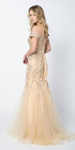 Juliet 693 Embellished Lace Off the Shoulder Gold Mermaid Prom Dress