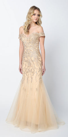 CLEARANCE - Off The Shoulder Tulle A-Line Gown Gold Beaded Lace Bodice Leg Slit (Size XL)