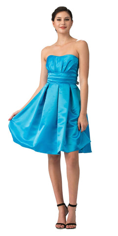Starbox USA 693 Turquoise Knee Length Bridesmaid Dress Strapless Empire Pleated Bodice