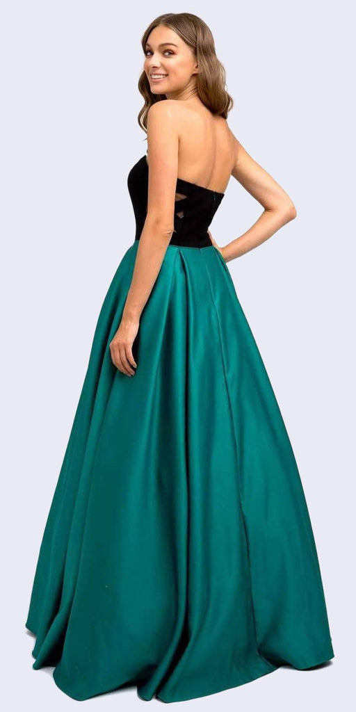 Juliet 694 Floor Length Two Tone Black/Green Sweetheart Ball Gown Style Prom Dress