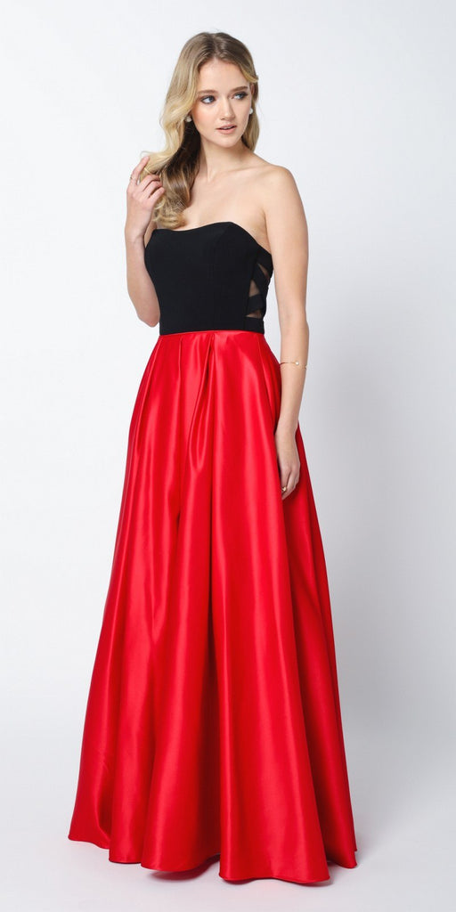 Juliet 694 Two Tone Sweetheart Ball Gown Style Prom Dress Black/Red