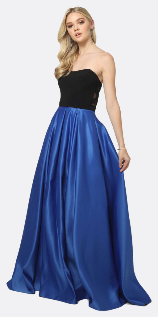 Juliet 694 Two Tone Sweetheart Ball Gown Style Prom Dress Black/Royal