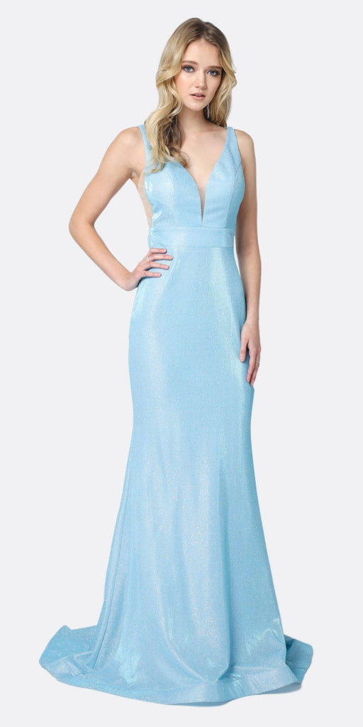 Juliet 695 Glitter Ice Blue Sheath Dress Floor Length Deep-V Neckline