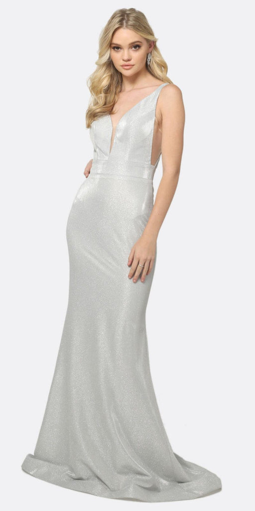 Juliet 695 Glitter Silver Sheath Dress Floor Length Deep-V Neckline