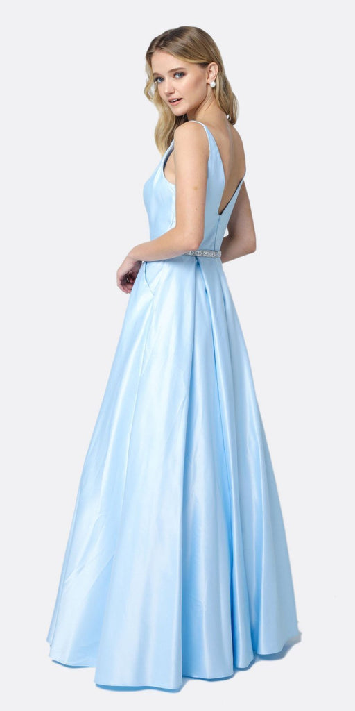Juliet 696 A Line Long Satin Ice Blue Prom Dress Removable Rhinestone Belt